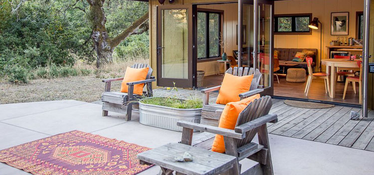the patio at Creekside Cottage at Bell Valley Retreat in Anderson Valley, Mendocino County, California