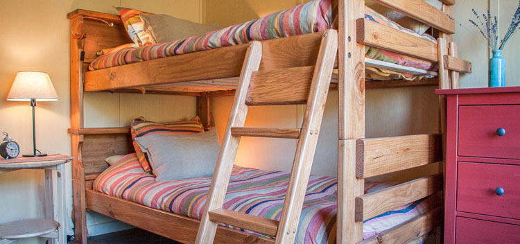 the barn bunks at the barn at Bell Valley Retreat in Anderson Valley, Mendocino County, California
