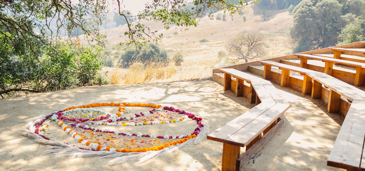 beautiful outdoor amphitheater at The Toll House at Bell Valley Retreat in Anderson Valley, Mendocino County, California