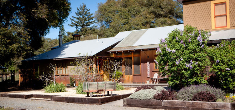 outside the Toll House at Bell Valley Retreat in Anderson Valley, Mendocino County, California