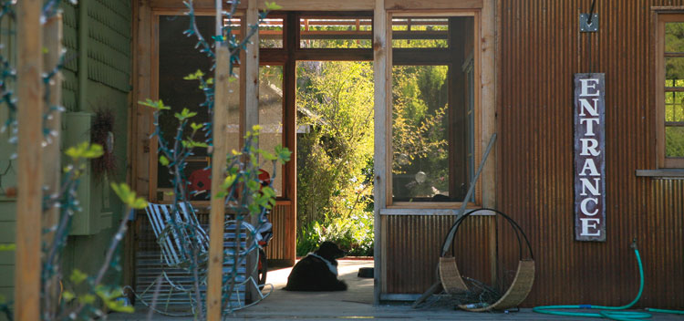 the breezeway at The Toll House at Bell Valley Retreat in Anderson Valley, Mendocino County, California