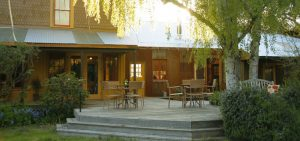 the outside deck at The Toll House at Bell Valley Retreat in Anderson Valley, Mendocino County, California
