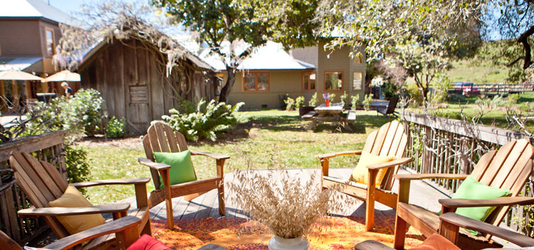 outdoor gathering spot at The Toll House at Bell Valley Retreat in Anderson Valley, Mendocino County, California