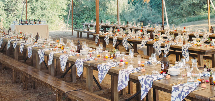 beautiful table settings at The Toll House at Bell Valley Retreat in Anderson Valley, Mendocino County, California