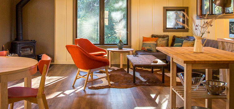 chairs on hardwood floor at the Creekside Cottage at Bell Valley Retreat