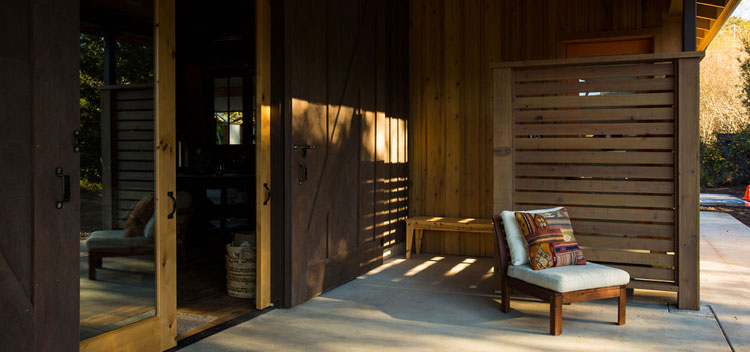 the patio at the barn with sitting space and modern styling
